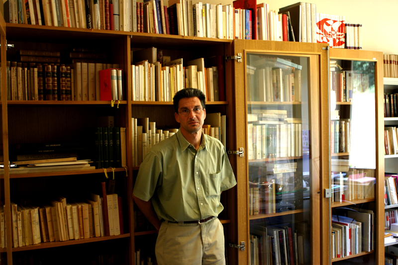 Daniel Maggetti in his office of the Francophone Research Center that he runs in the Arts and Humanities School at the university of Lausanne (Dorigny campus)